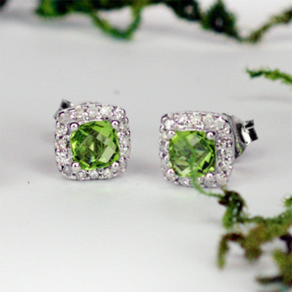 White Gold Diamond and Peridot Earrings