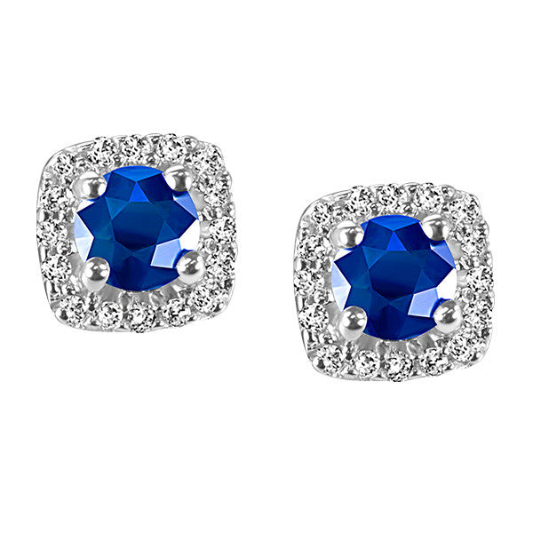 White Gold Diamond and Blue Sapphire Earrings