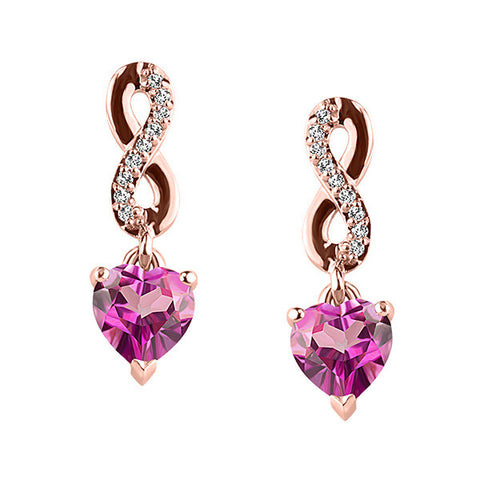 Rose Gold Diamond And Ping Topaz Earrings