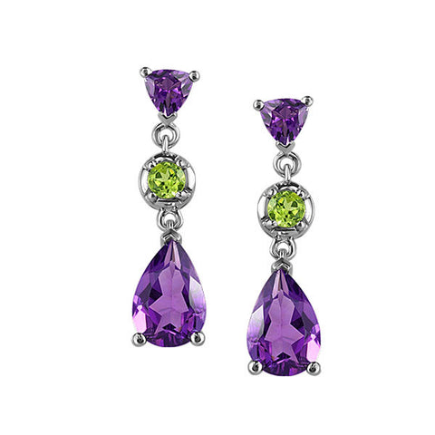 White Gold Amethyst And Peridot Earrings