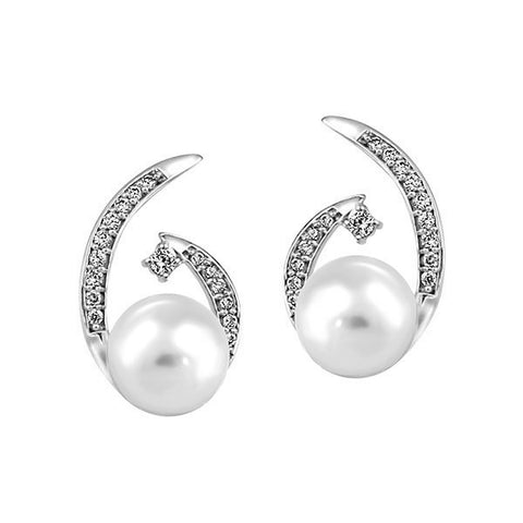 White Gold Diamond And Pearl Earrings
