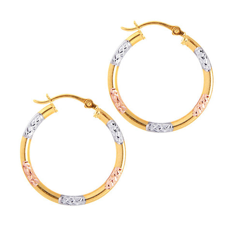 Tri Gold Diamond Cut Hoop Earrings