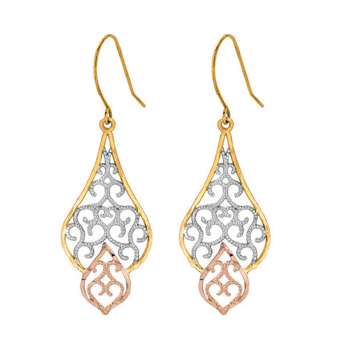 Tri Gold Filagree Dangling Earrings