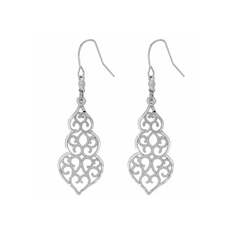 White Gold Filigree Earrings
