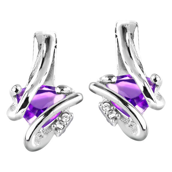 Silver Diamond And Amethyst Earrings