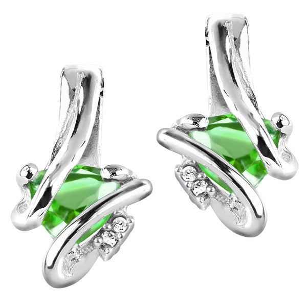 Silver Diamond And Emerald Earrings