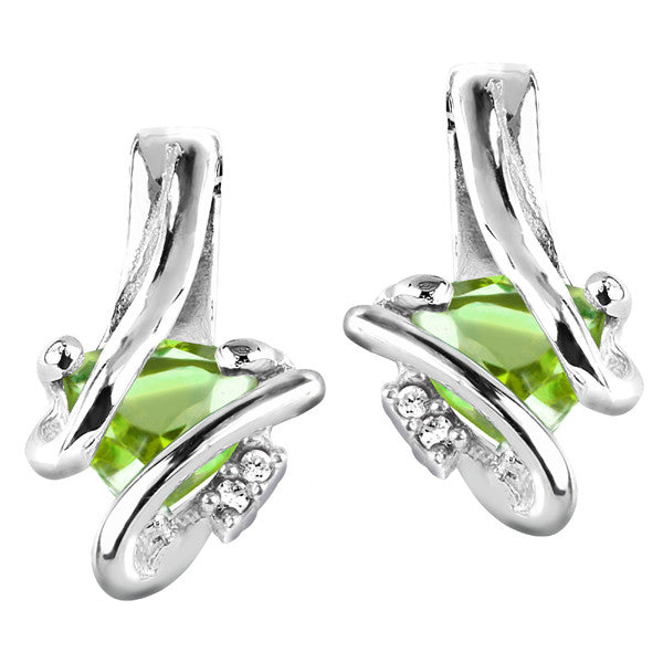 Silver Diamond And Peridot Earrings