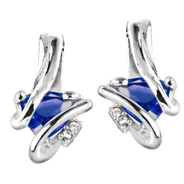 Silver Diamond And Sapphire Earrings