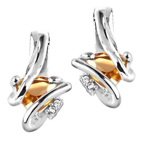 Silver Diamond And Citrine Earrings