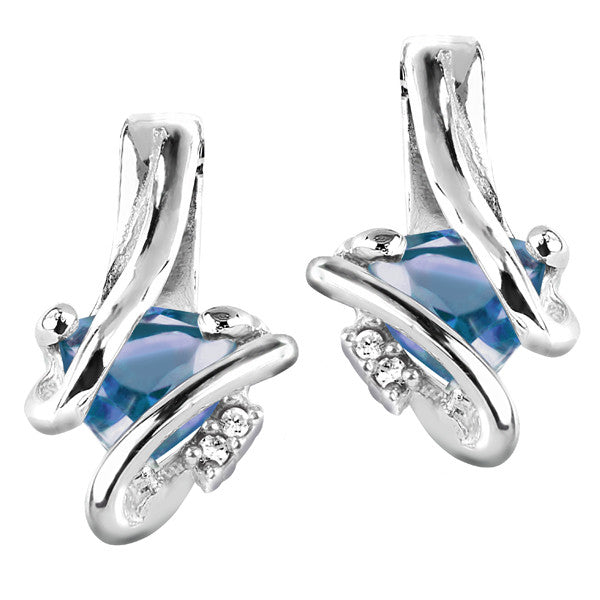 Silver Diamond And Blue Topaz Earrings