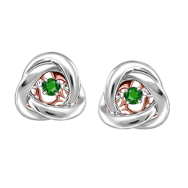 Silver and Rose Gold Emerald Luminance Earrings