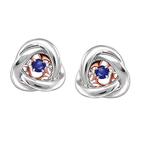 Silver and Rose Gold Sapphire Luminance Earrings  |  Clearance