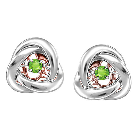 Silver and Rose Gold Peridot Luminance Earrings