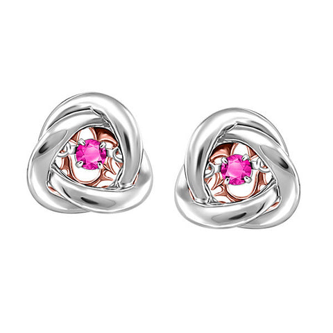 Silver and Rose Gold Pink Topaz Luminance Earrings