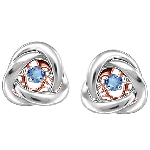 Silver and Rose Gold Blue Topaz Luminance Earrings