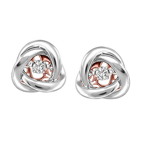 Silver and Rose Gold White Topaz Luminance Earrings