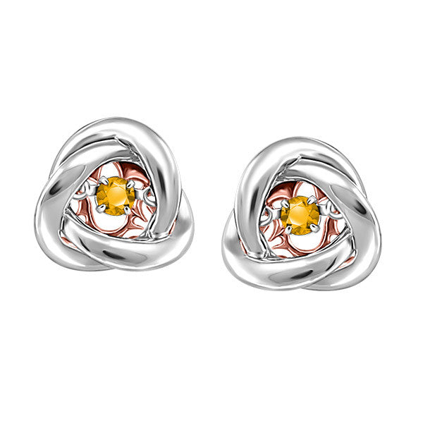 Silver and Rose Gold Citrine Luminance Earrings