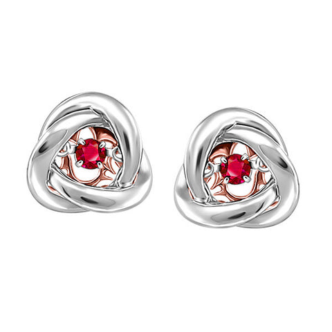 Silver and Rose Gold Ruby Luminance Earrings