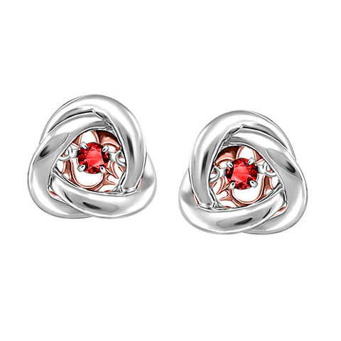 Silver and Rose Gold Garnet Luminance Earrings  |  Clearance