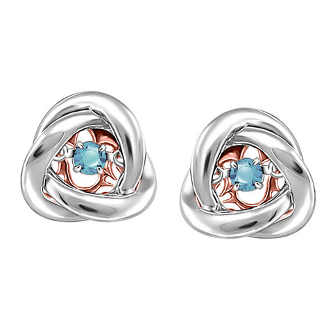 Silver and Rose Gold Aquamarine Luminance Earrings  |  Clearance