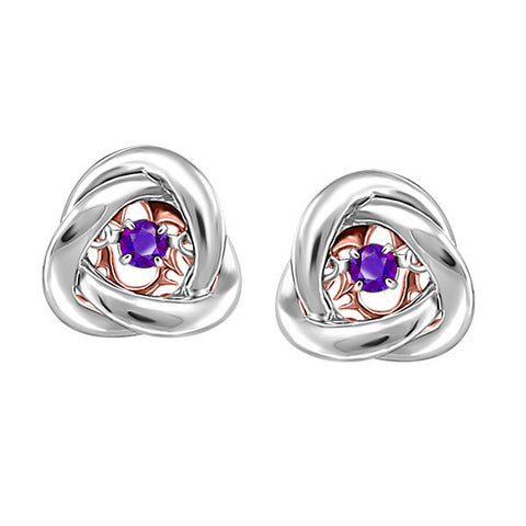 Silver and Rose Gold Amethyst Luminance Earrings  |  Clearance