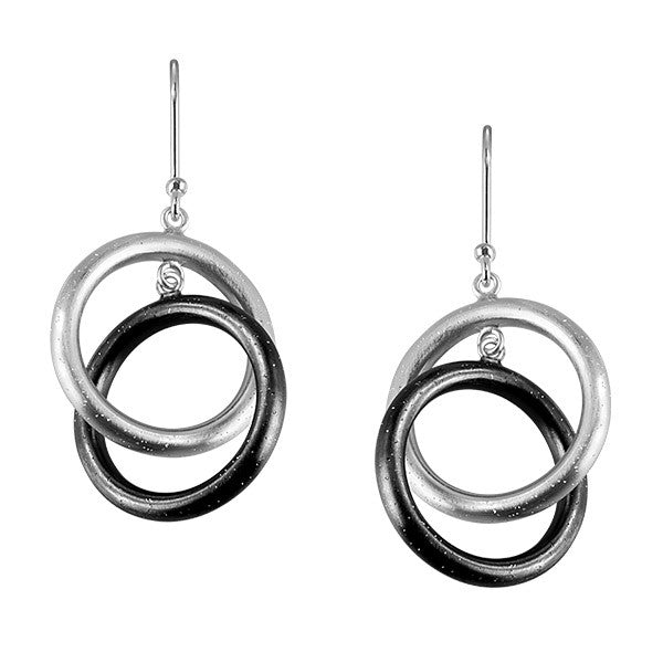 Silver Stardust Circle Earrings