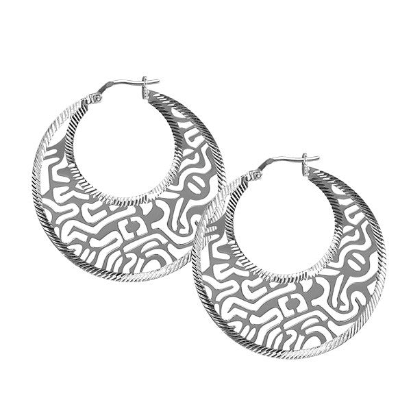Silver Fancy Hoop Earrings