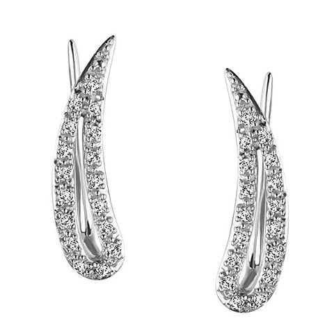 Silver Diamond Leaf Earrings