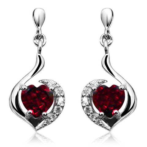 Silver Garnet and White Topaz Earrings