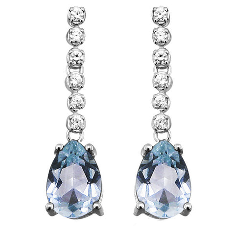 Silver Blue Topaz and White Topaz Earrings