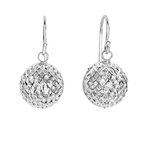 Silver Dangling Ball Earrings