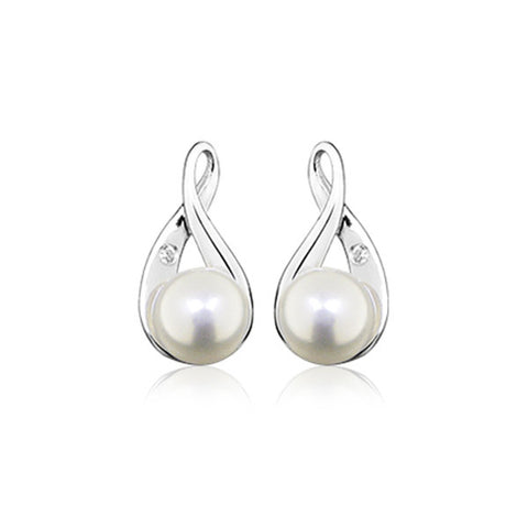 Silver White Topaz and Pearl Earrings
