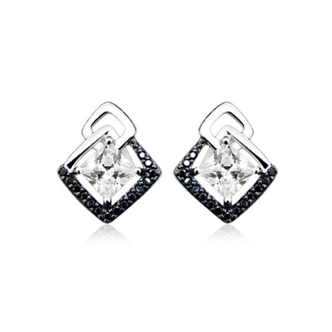 Silver White Topaz and Spinel Earrings