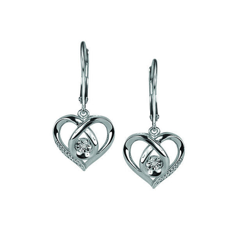 Silver Diamond Luminance Heart Earrings