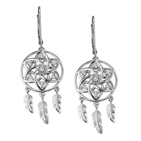 Silver and Diamond Dreamcatcher Inspired Earrings