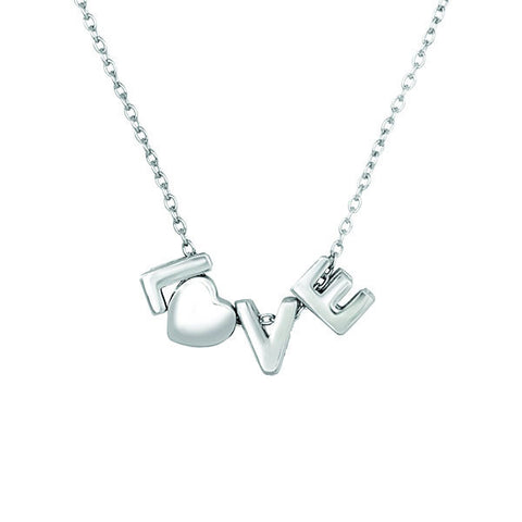 "18"" Silver Love Necklace"