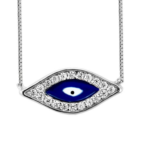 "Silver Cubic Zirconia ""EVIL Eye"" Necklace"