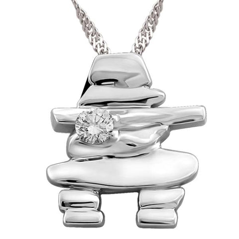 White Gold Canadian Diamond Inukshuk Pendant