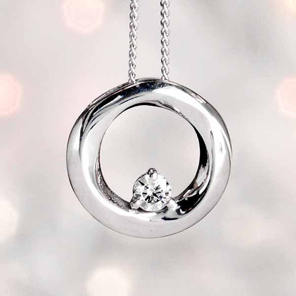 White Gold Fire of the North Circle Pendant