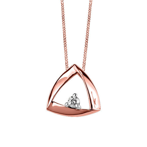 Rose Gold Fire of the North Triangle Pendant