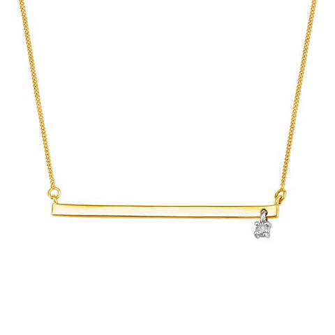10kt Yellow Gold Round Brilliant Canadian Diamond Bar Necklace