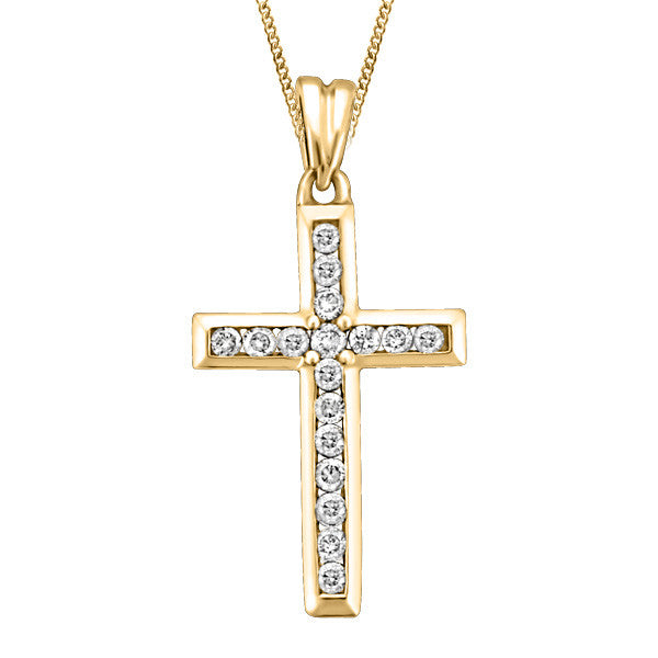 Gold Diamond Cross Pendant