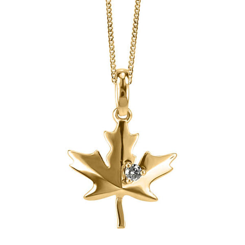 Yellow Gold and Diamond Maple Leaf Pendant