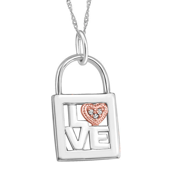 White and Rose Gold Diamond Love Heart Pendant