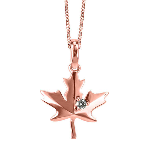 Rose Gold and Diamond Maple Leaf Pendant