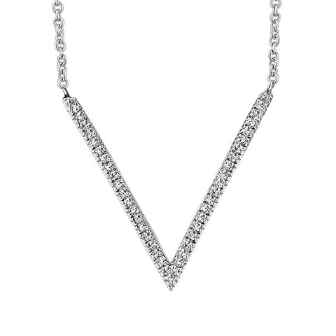 White Gold Diamond Geometric V Pendant