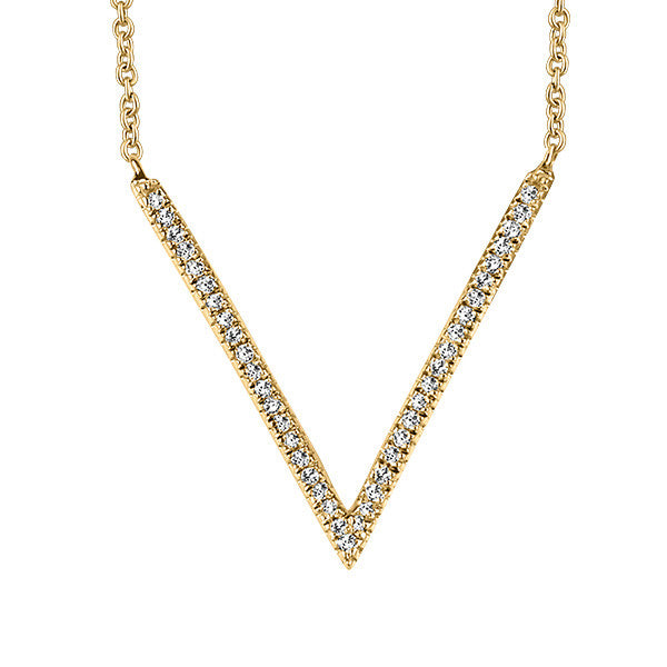 Yellow Gold Diamond Geometric V Pendant