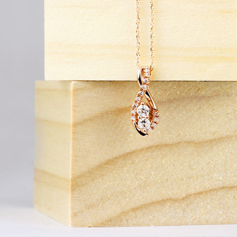 Two True Rose Gold Diamond Pendant