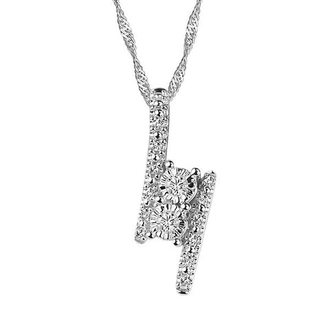 Two True White Gold Diamond Pendant