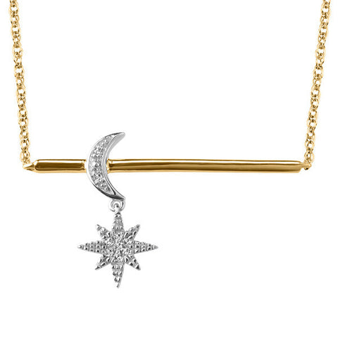 White and Yellow Gold Diamond Pendant  |  Clearance
